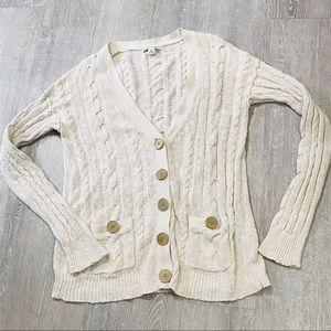 Banana Republic Knit Ribbed Cream Button Sweater